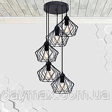 Підвісна люстра на 5 ламп CARAVAN-5G E27 на круглій основі, чорний