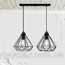 Підвісна люстра на 2-лампи DIAMOND-2 E27 чорний