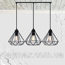 Підвісна люстра на 3-лампи DIAMOND-3 E27 чорний