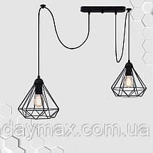 Підвісний світильник на 2-лампи DIAMOND/SP-2 E27 чорний