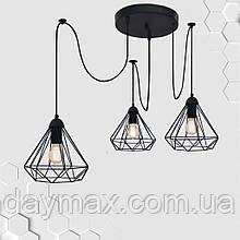 Підвісна люстра на 3-лампи DIAMOND/SP-3 E27 чорний