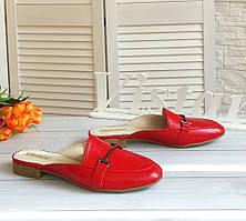 Красные кожаные мюли от производителя в наличии