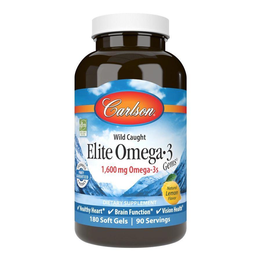 Жирні кислоти Carlson Labs Elite Omega-3 Gems, 180 капсул