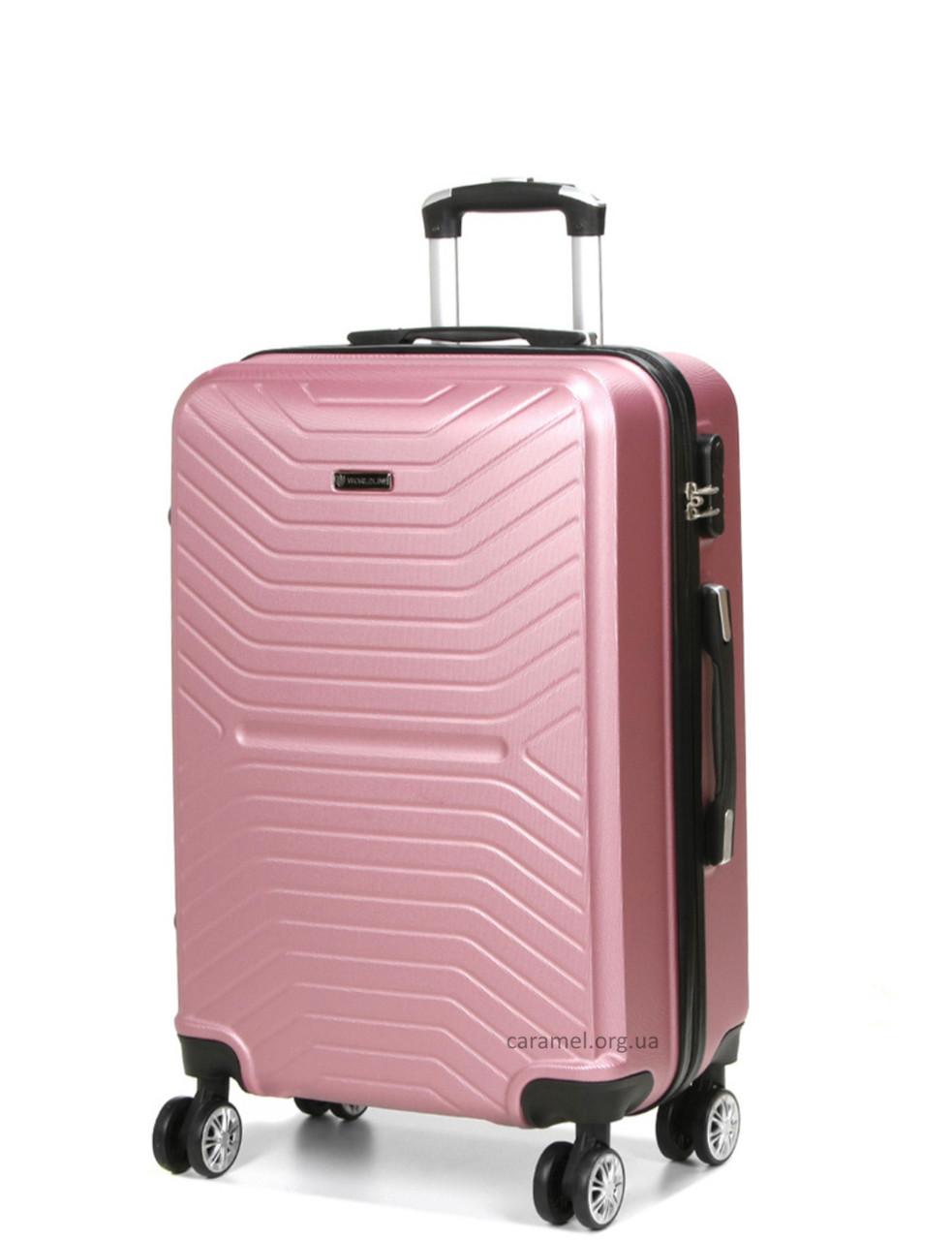 Чемодан поликарбонат  на 4х колесах средний  M розовый   66х42х26 см   3.400 кг   70 л   AIRTEX 625