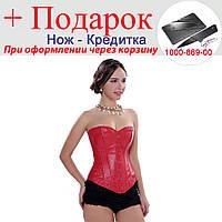 Корсет Aphrodite зі штучної шкіри S Червоний, фото 1