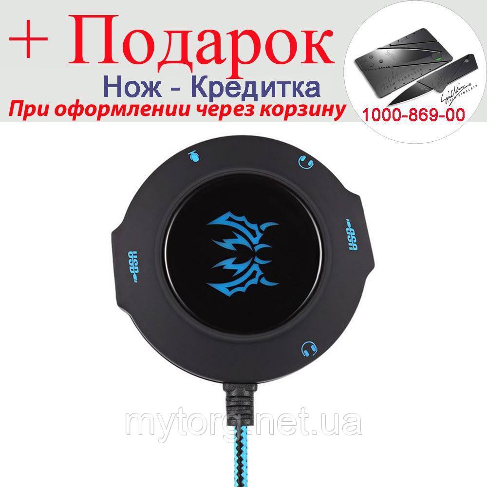 Зовнішня USB звукова карта Kotion S2 з USB хабом Синій