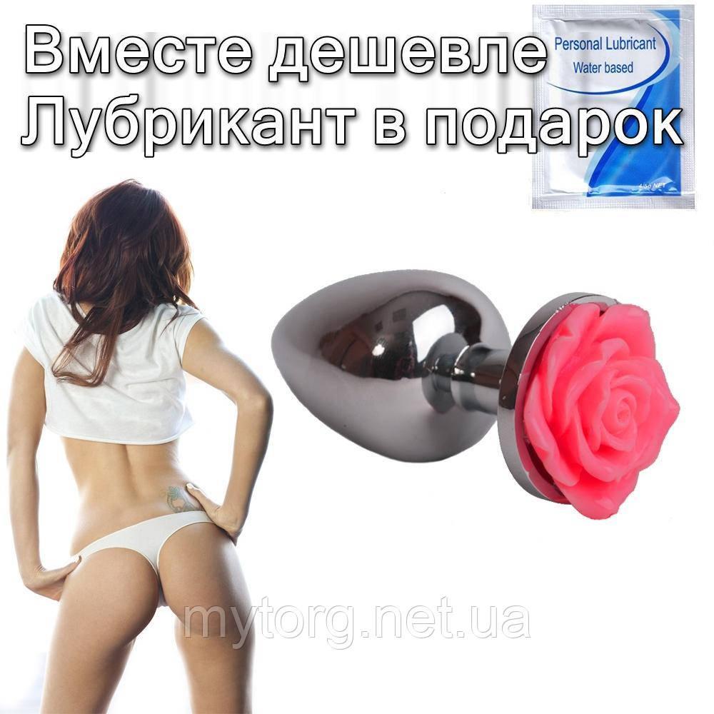 Анальна пробка Троянда 2,8 см х 7 см Червоний