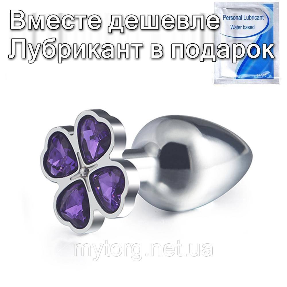 Стальная анальная пробка Цветок L Фиолетовый