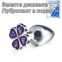 Стальная анальная пробка Цветок L Фиолетовый, фото 1