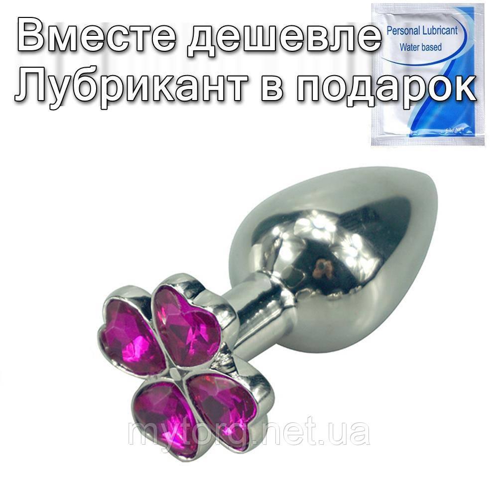 Стальная анальная пробка Цветок М Розовый