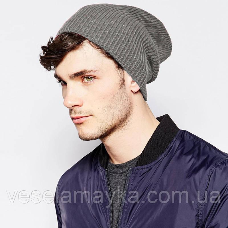 Светло-серая вязаная шапка (удлиненный крой)