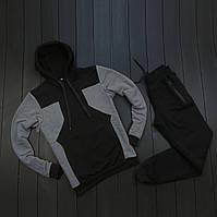 Спортивный костюм мужской черный с серым S, M, L, XL, XXL