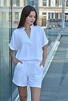 Стильный женский костюм летний с шортами белый, костюм лен жатка, модная блуза (футболка) и шорты из льна