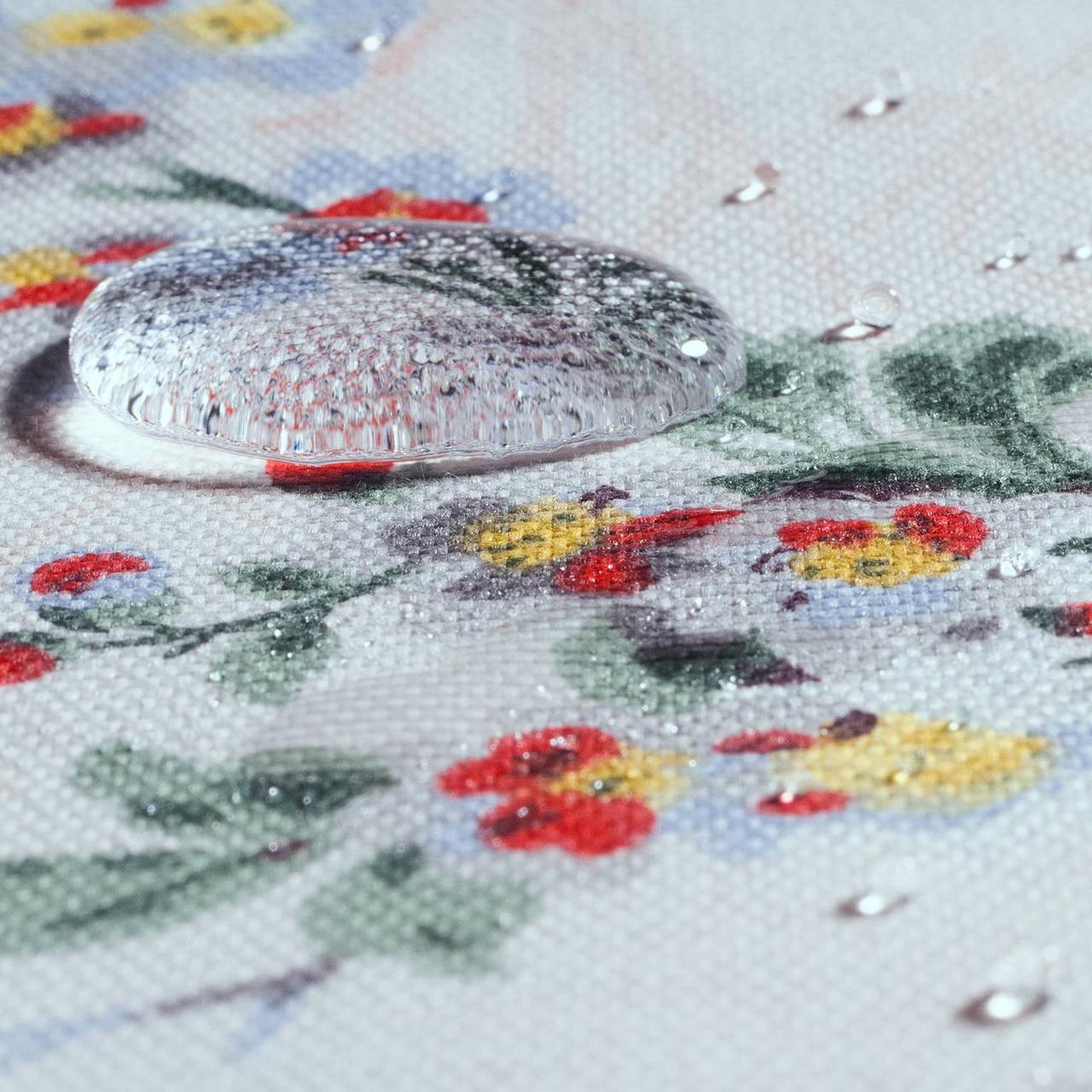 Декоративна тканина сакура червоне з жовтим на блакитному тлі 88137v6