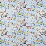 Декоративна тканина сакура червоне з жовтим на блакитному тлі 88137v6, фото 2