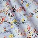 Декоративна тканина сакура червоне з жовтим на блакитному тлі 88137v6, фото 3