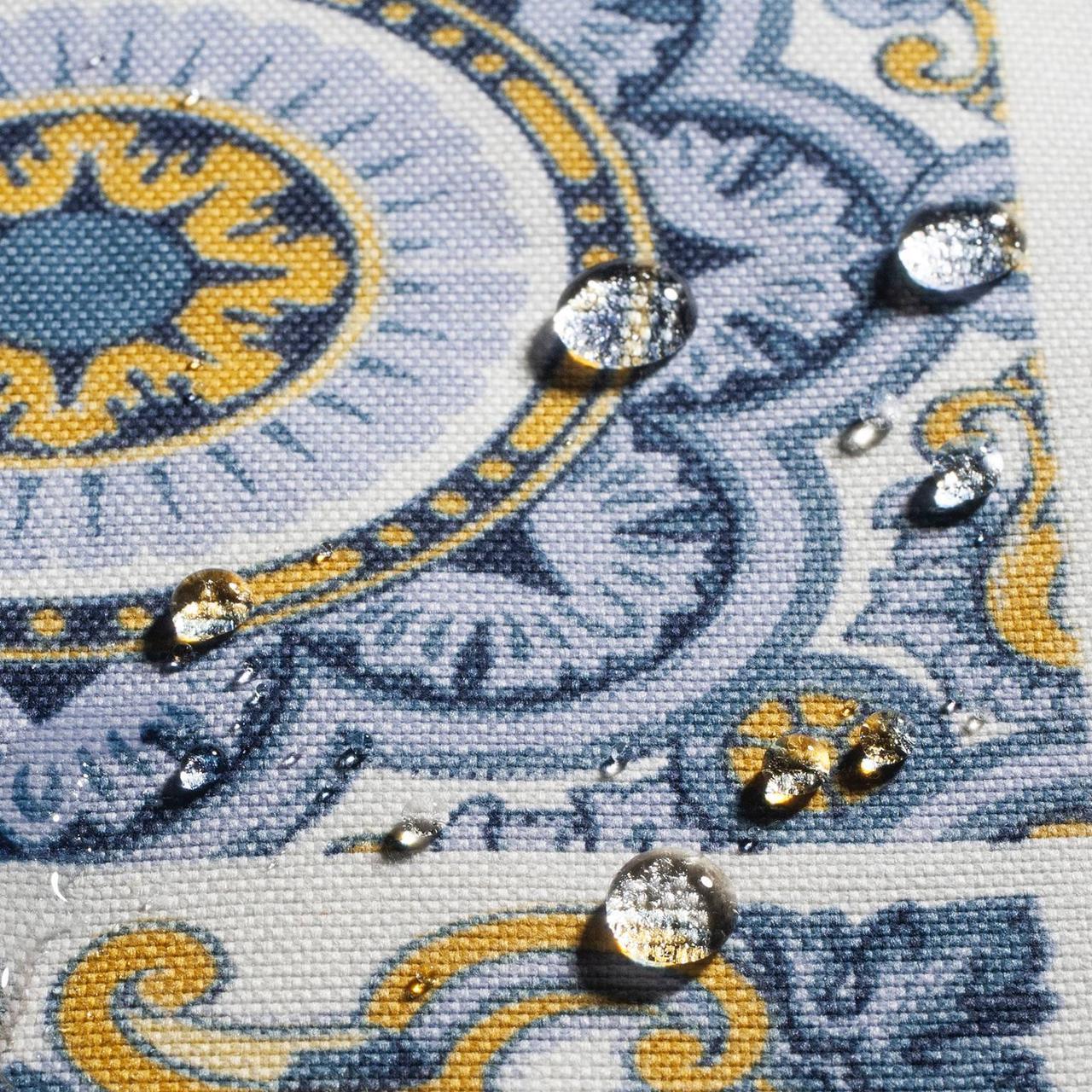 Декоративная ткань плитка синяя 20286v1 180см