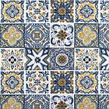 Декоративная ткань плитка синяя 20286v1 180см, фото 2