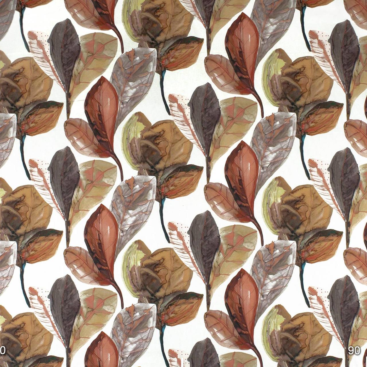 Декоративна тканина листя великі коричневі акварель Іспанія 280см 88096v7