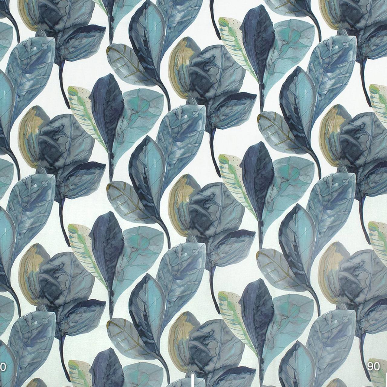 Декоративная ткань синие листья крупные акварель Испания 280см 88093v3