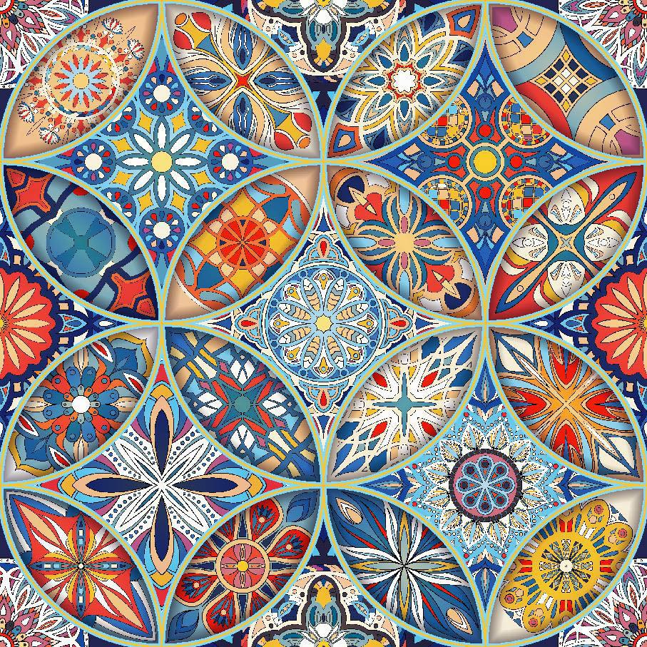Декоративная ткань яркие мандалы на сине-голубом фоне Испания 280см