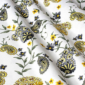Декоративна тканина огірки сіро-жовті на білому тлі Туреччина 88025v9