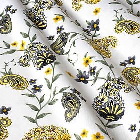 Декоративная ткань огурцы серо-желтые на белом фоне Турция 88025v9