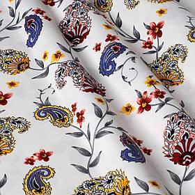 Декоративна тканина огірки червоно-жовті на білому тлі Туреччина 88026v5