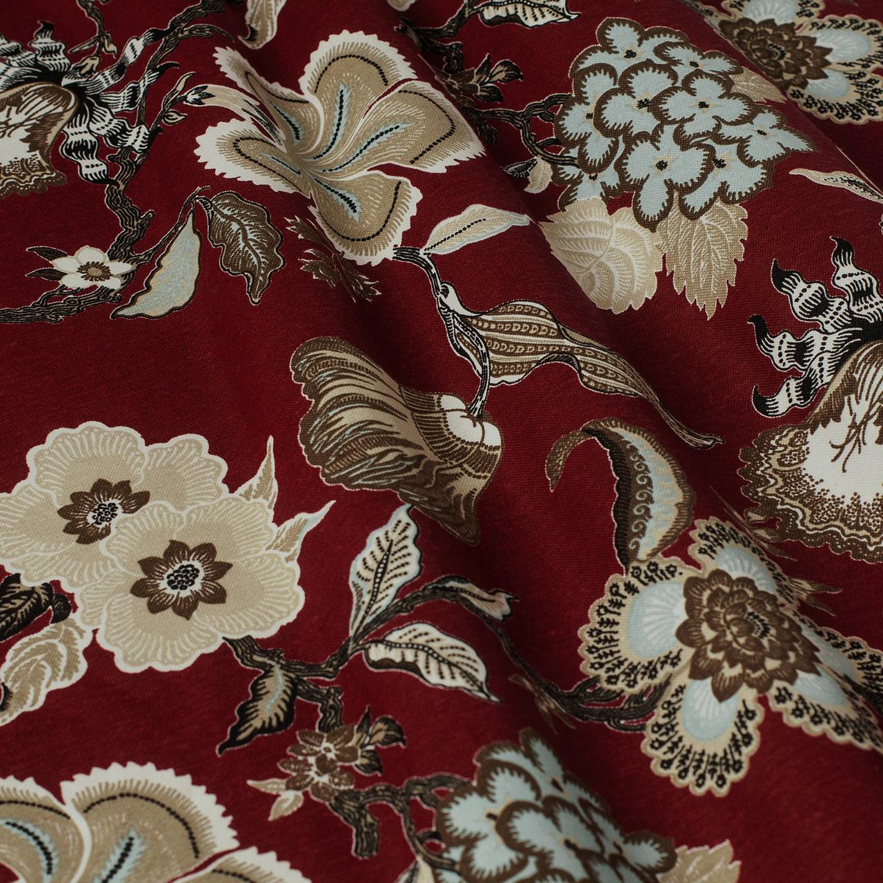 Декоративная ткань серые цветы на бордовом фоне Турция 87994v10