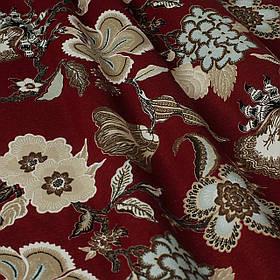 Декоративна тканина сірі квіти на бордовому тлі Туреччина 87994v10