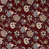 Декоративная ткань серые цветы на бордовом фоне Турция 87994v10, фото 2