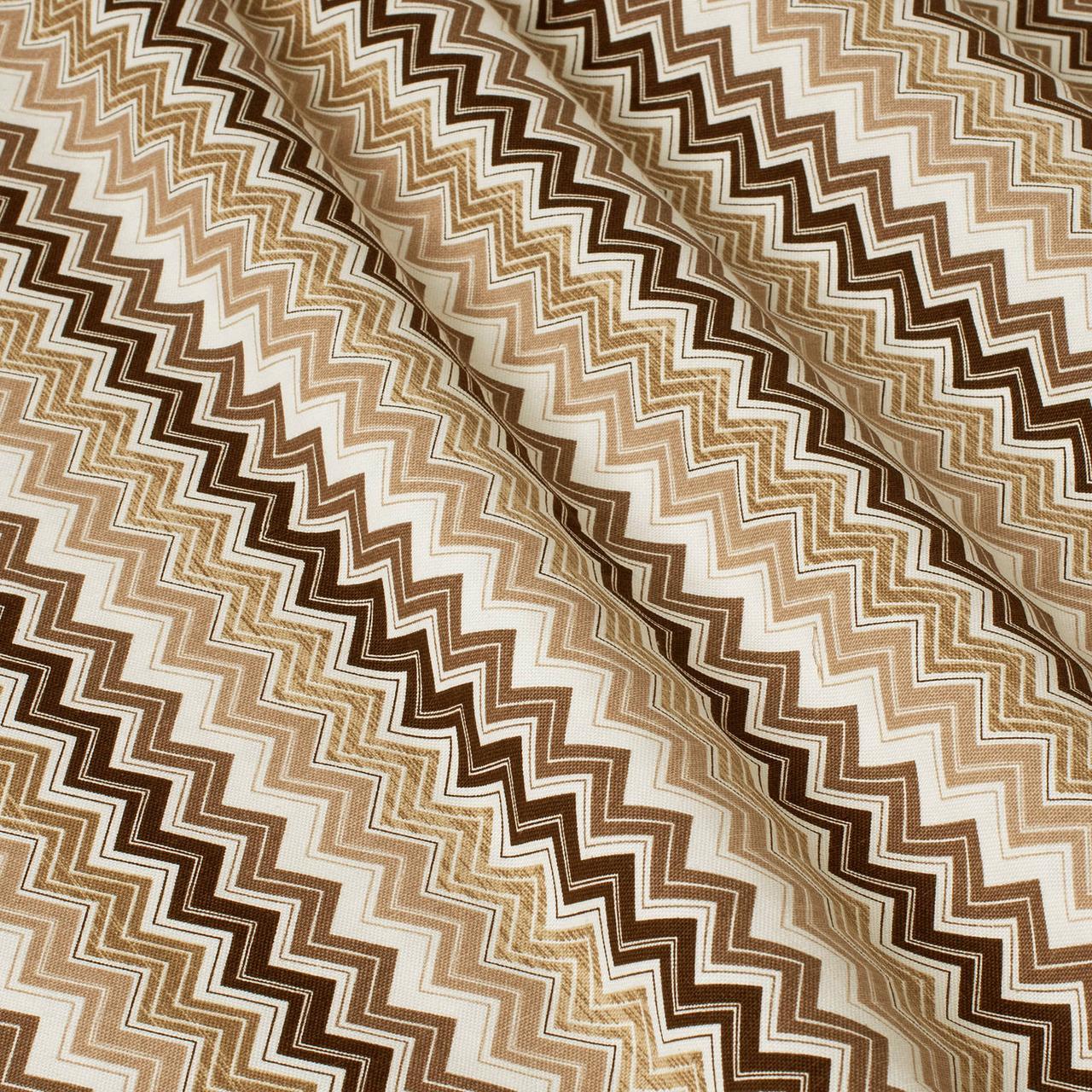 Декоративна тканина зигзаги міссоні коричні білі Туреччина 88008v9