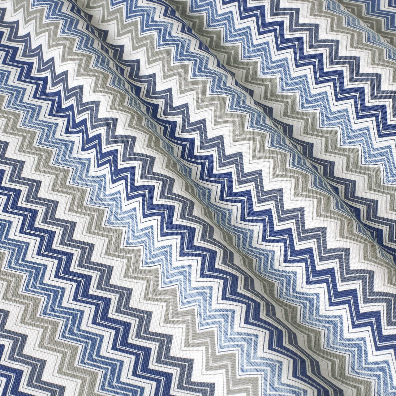 Декоративна тканина зигзаги міссоні блакитні білі Туреччина 88004v2