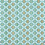 Декоративна тканина геометрія шестикутники зелені на білому тлі Туреччина 87997v6, фото 2