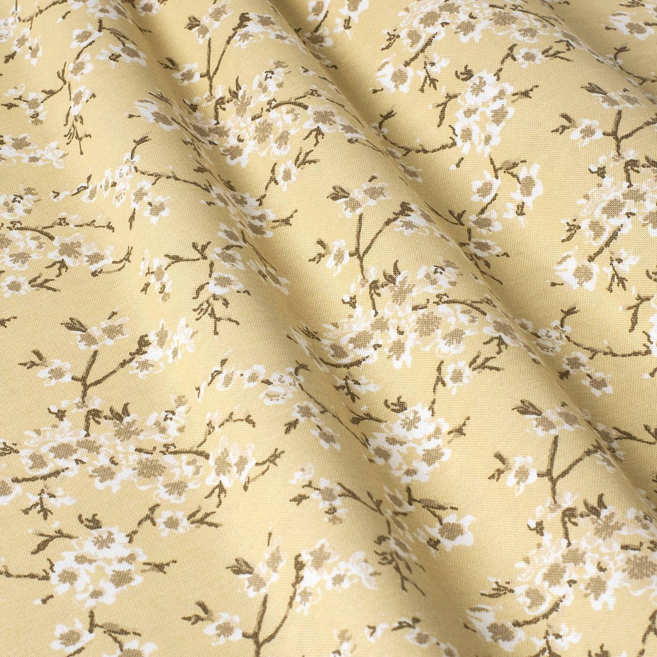 Декоративная ткань цветы сакура желтый Турция 88002v13
