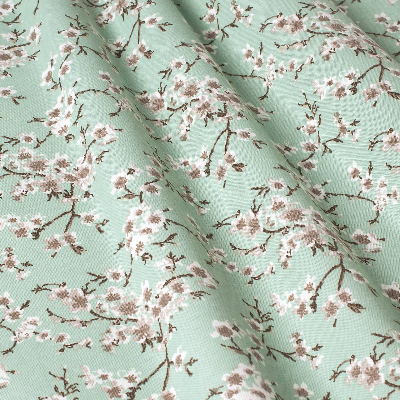 Декоративна тканина квіти сакура ментол Туреччина 88001v12