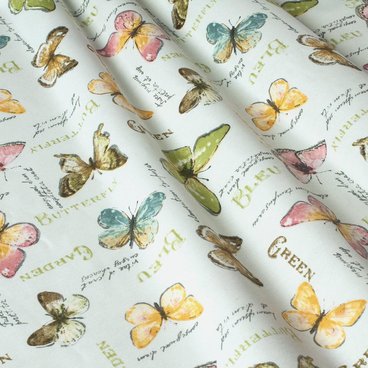 Декоративная ткань бабочки цветные пастель Турция 87982v16