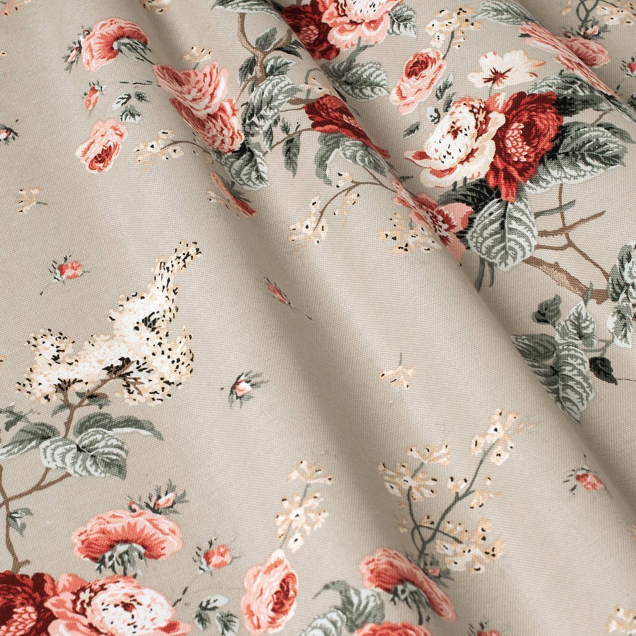 Декоративная ткань цветы на светло-сером фоне Турция 87979v15