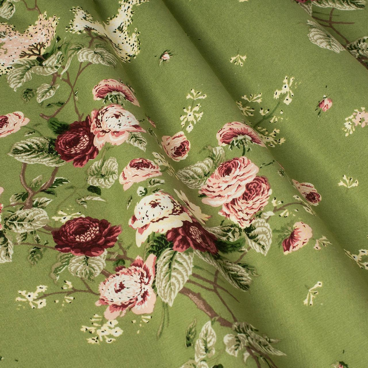 Декоративна тканина квіти на зеленому тлі Туреччина 87978v10