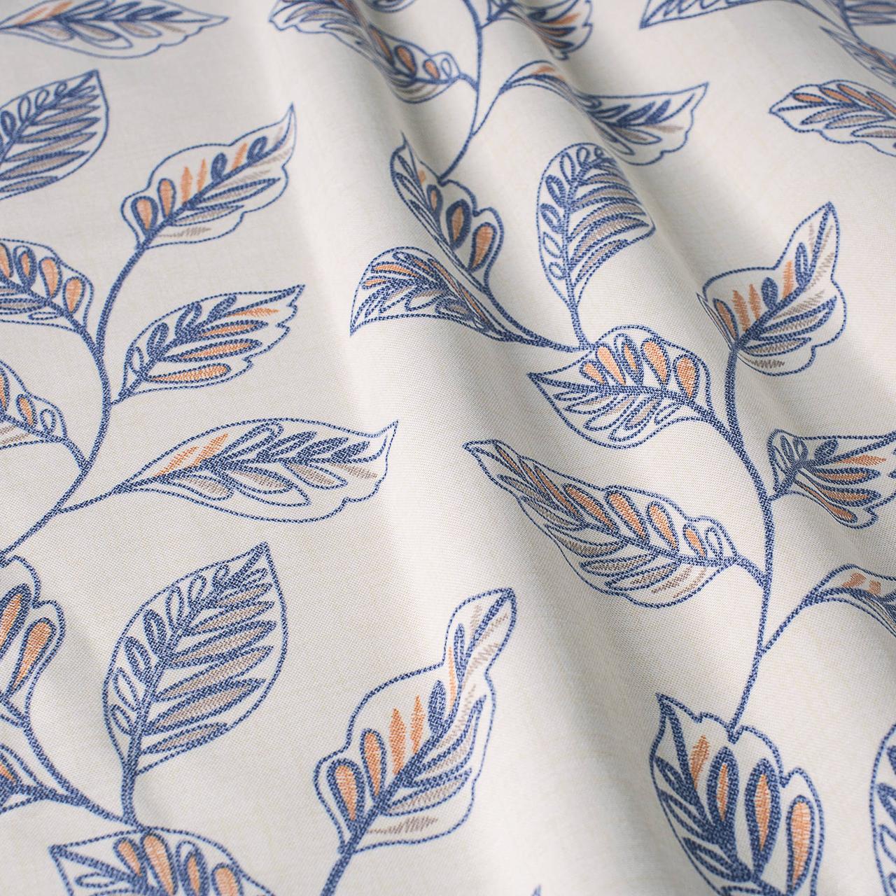 Декоративная ткань синие листья на сером фоне Турция 87961v3