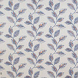 Декоративная ткань синие листья на сером фоне Турция 87961v3, фото 2