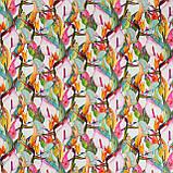 Декоративная ткань розовые и оранжевые цветы на белом фоне Испания 87892v1, фото 2