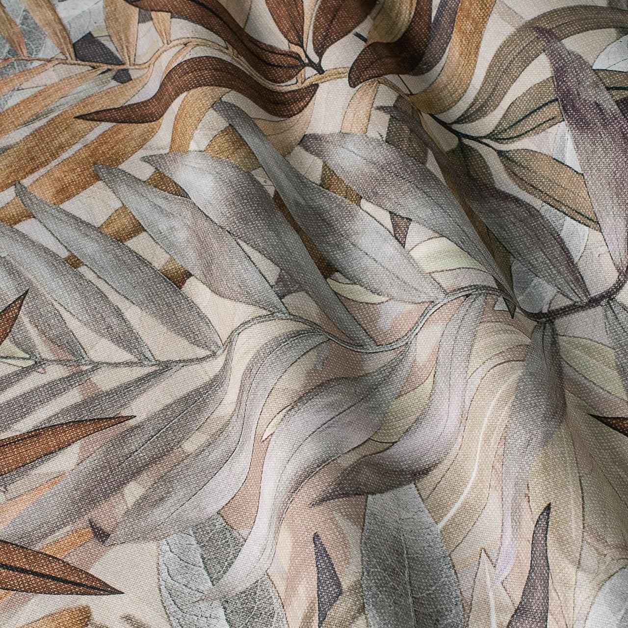 Декоративная ткань серые и коричневые листья Испания 87886v1