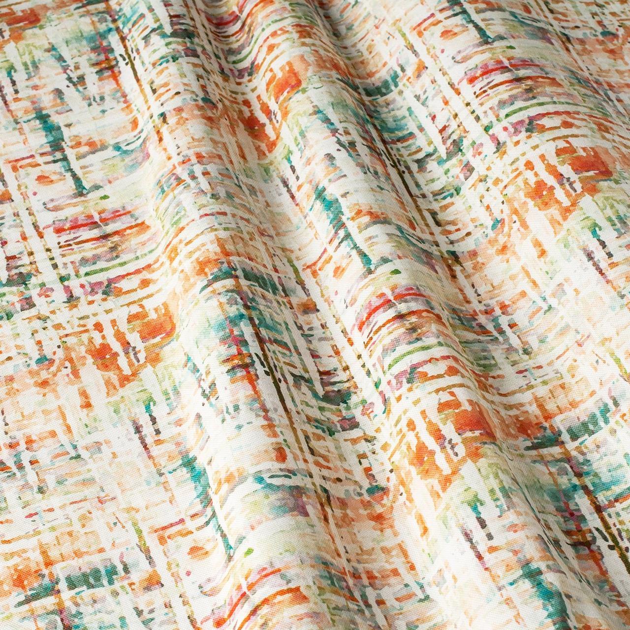 Декоративна тканина помаранчеві і блакитні смуги на білому тлі Іспанія 87881v8