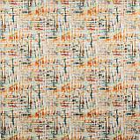 Декоративна тканина помаранчеві і блакитні смуги на білому тлі Іспанія 87881v8, фото 2