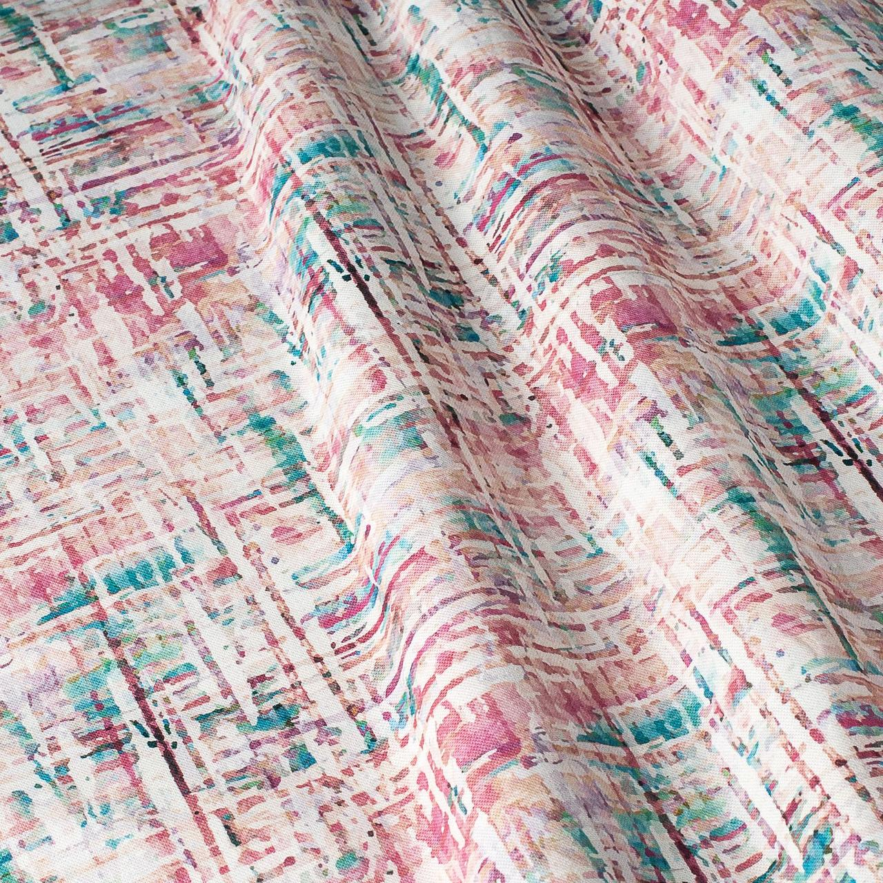 Декоративная ткань розовые и голубые полосы на белом фоне Испания 87880v7