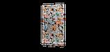 Декоративна тканина рожеві і сині квіти з зеленим листям на білому тлі Іспанія 87878v8, фото 5