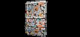 Декоративна тканина рожеві і сині квіти з зеленим листям на білому тлі Іспанія 87878v8, фото 6