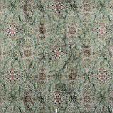 Декоративна тканина коричневий вензель на зеленому тлі Іспанія 87874v4, фото 2