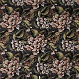 Декоративна тканина коричневі квіти з листям на зеленому тлі Іспанія 87872v6, фото 2